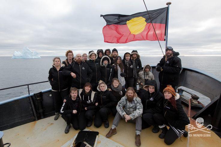 The MV Steve Irwin crew beneath the Australian Aboriginal Flag on Australia Day in the Southern Ocean   Photo: Chelsea Miller / Sea Shepherd Global