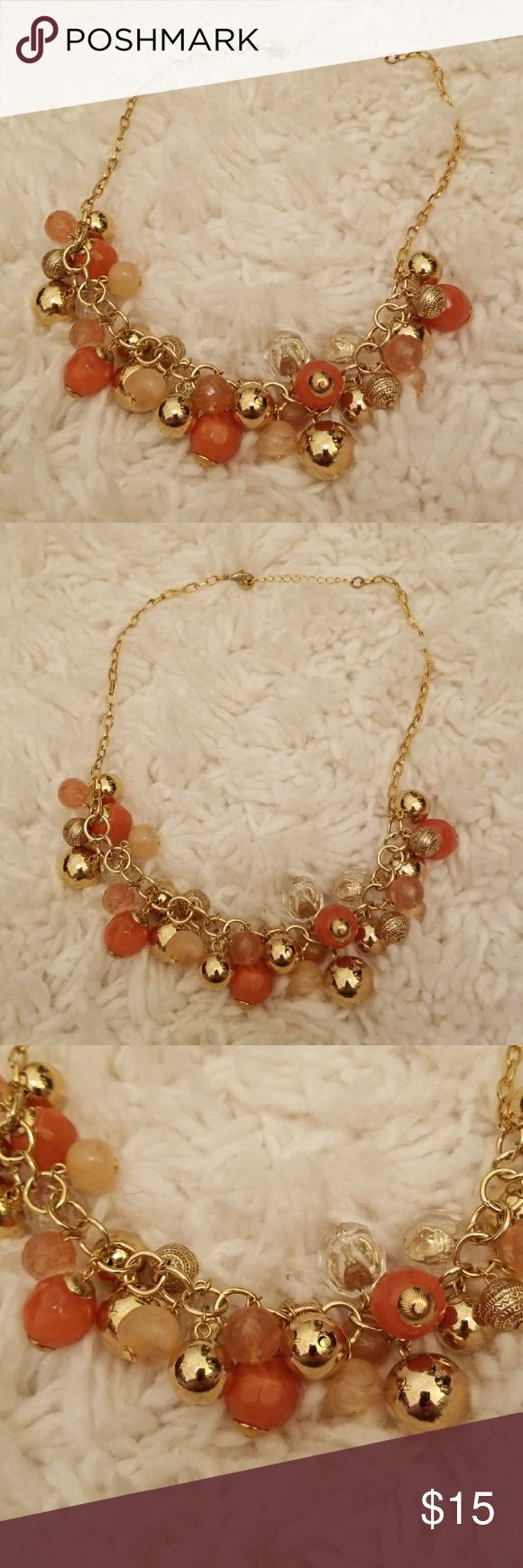 """Chico's Gold and Peach Necklace Chico's Gold and Pink Necklace. Gently worn, gold and peach beads. Adjustable length but 10"""" long. Check out my other listings for sale, I've got a ton! Bundle and save!  *All earnings go to the victims of hurricane Maria in PR* Chico's Jewelry Necklaces"""