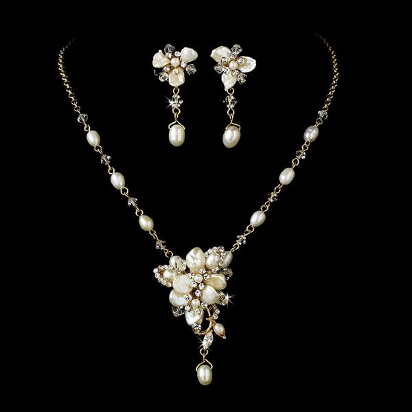 Keshi And Freshwater Pearl Fl Gold Plated Bridal Beach Wedding Necklace Set