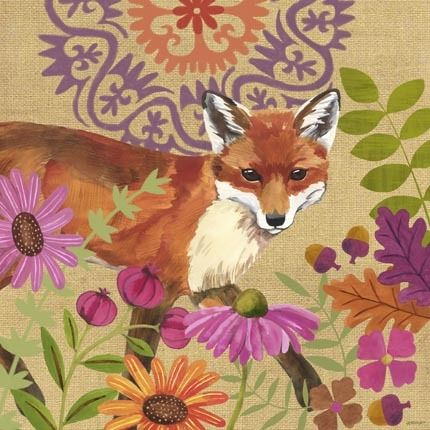 Burlap Woodland Fox by Jennifer Brinley | Ruth Levison Design