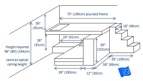 A T-shaped bunk bed design for 2 bunks with lots of storage.
