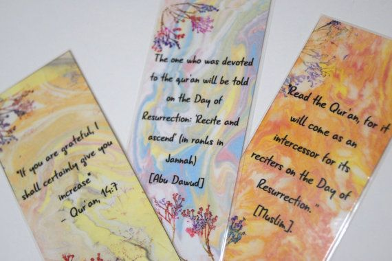 Ramadan gift Water color and hand stamped bookmark by HafsaCreates