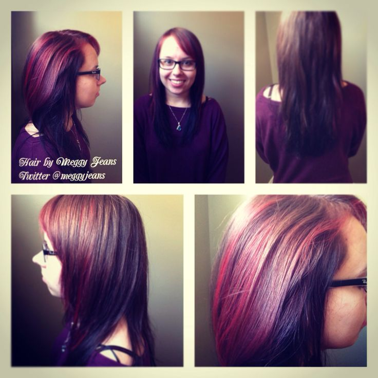 New Colour!  Black underneath with brunette ontop Slices of hi-lites on either side, fully toned with Red  Instagram @meggyjeans_ #hairbymeggyjeans  #red #hair #new #brunette #colourful #vibrant #colour #love #hair