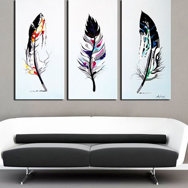 3 piece canvas art easy design art feathers 3piece handpainted oil on canvas artabstract 119 liked polyvore featuring home home decor wall art ou2026 artabstract
