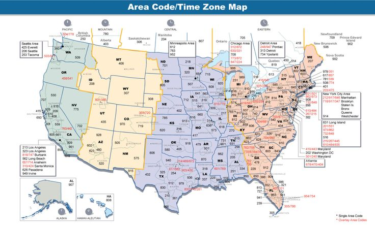 Area codes and time zones in the US.