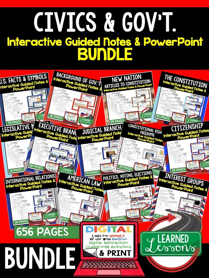 Civics Guided Notes, Civics PowerPoints, Civics Lectures, Civics Outlines, Civics Digital Graphic Organizers, Google Classroom, US Facts and Symbols, Background of Government, Constitution, Legislative Branch, Executive Branch, Judicial Branch, Constitutional Rights, Freedoms, American Law, Citizenship, Politics, Voting, Elections, International Relations