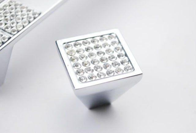 Moderne k9 kristal knoppen keukenkast handvat lade trekt( 25x25mm)(China (Mainland))