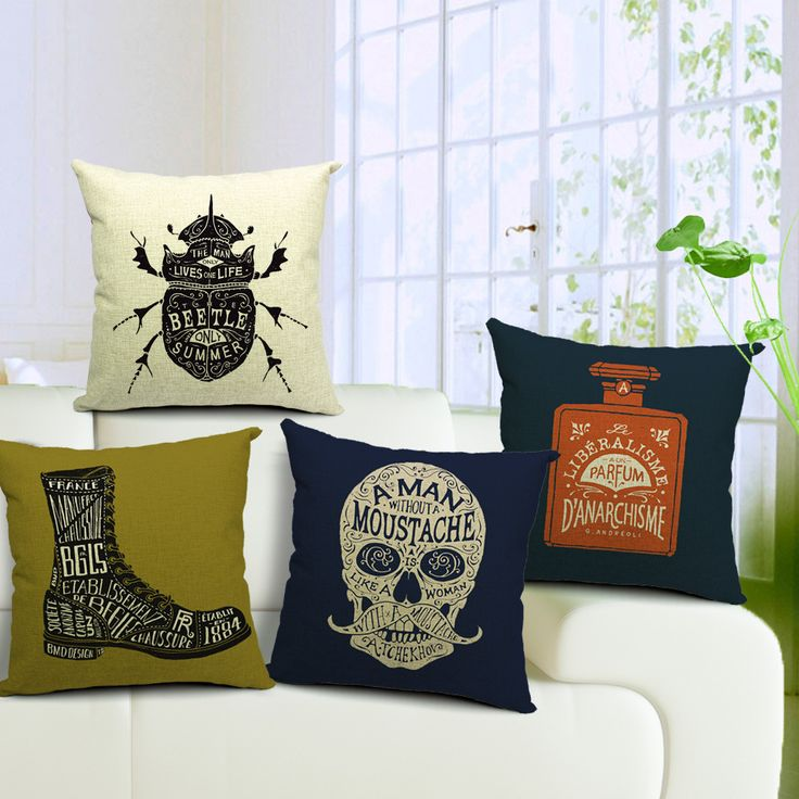 British Retro Linen Cotton Cushion Cover Letter Pattern Skull Beetle Boots Perfume Bottle Pillow Cover Throw Pillowcase 4pcs/set