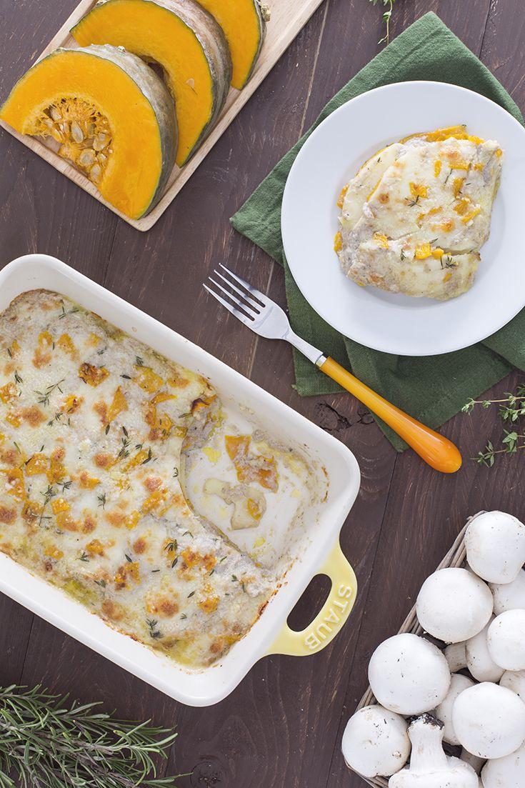 Lasagne di zucca con crema di funghi e scamorza: un gioco di profumi e sapori indimanticabile!  [Pumpkin lasagna with mushroom cream and scamorza cheese]