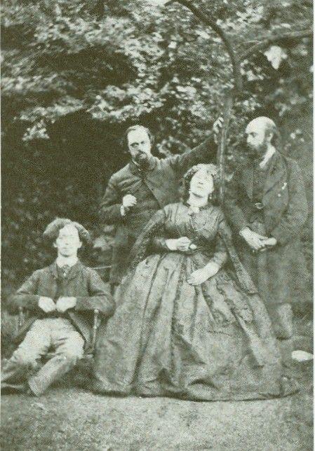 Algernon Charles Swinburne, Dante Gabriel Rossetti, Fanny Cornforth and William Michael Rossetti at Cheyne Walk. 1863.