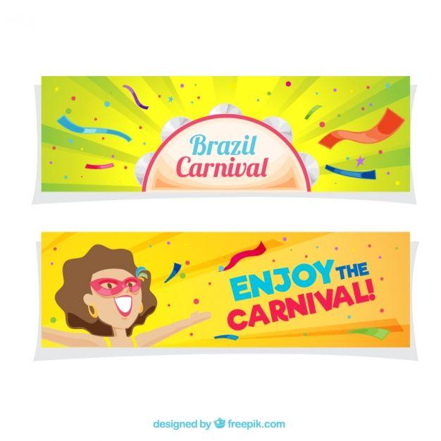 Красочные баннеры бразильские карнавальные в плоском дизайне Бесплатные векторы