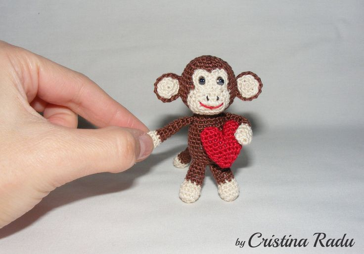 Crochet Monkey with red heart, luck Symbol Chinese New Year 2016, miniature Monkey, Valentine's Monkey, tiny Monkey, key chain Monkey gift - pinned by pin4etsy.com