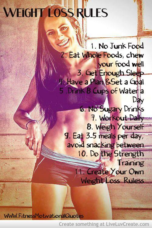 Regras para a perda de peso.