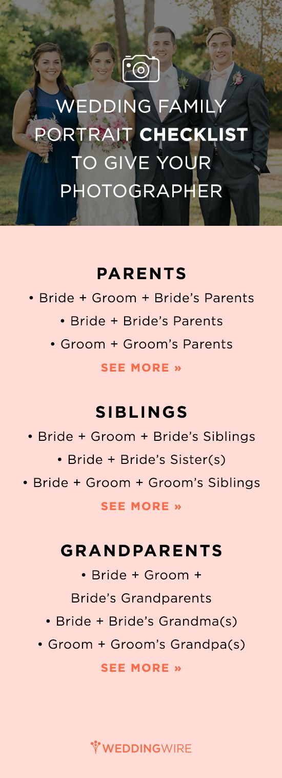 Not sure who to include in your wedding photos? We have done the hard work for you! Get our checklist for family photo op combination ideas! {Krista A. Jones Photography}