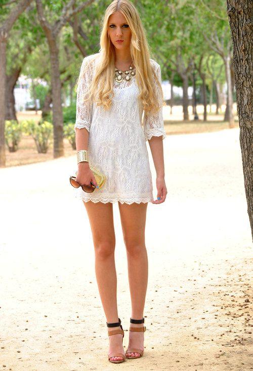 White lace  , Sheinside en Vestidos, Zara en Tacones / Plataformas, Vintage en Clutches