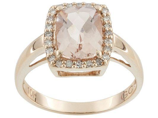 1.45ct Cor-de-rosa Morganite(Tm) With .15ctw White Diamonds 10k Rose G