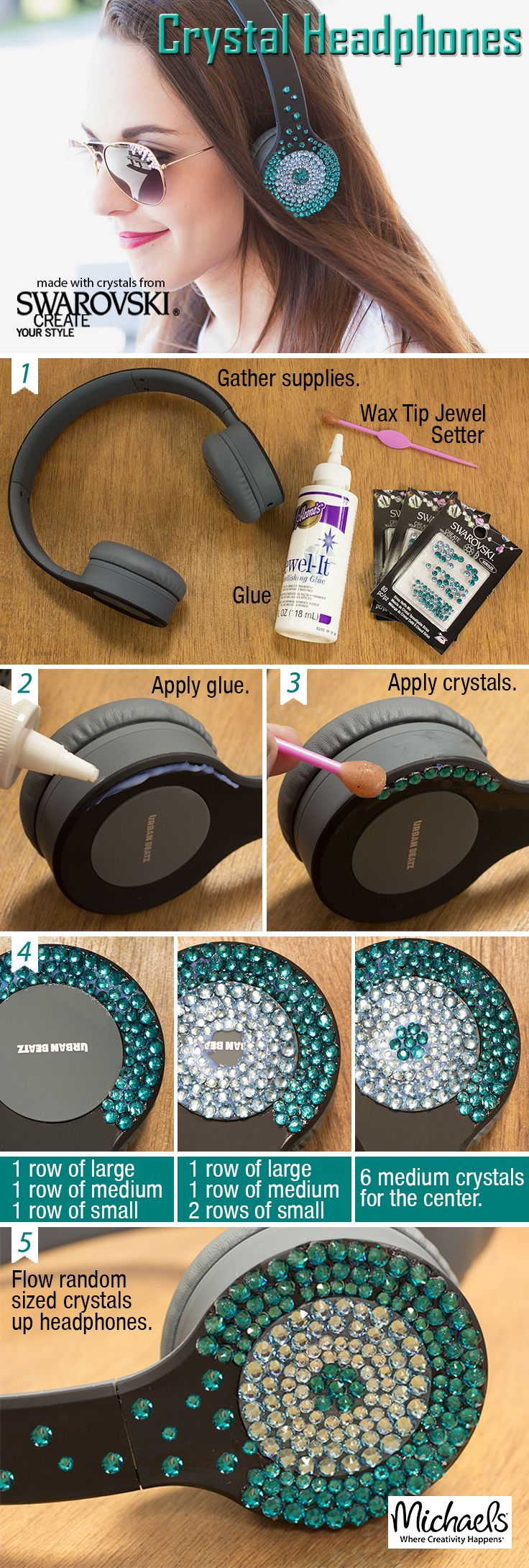 Bling your headphones the easy DIY way with Swarvovski Hot Fix Crystals