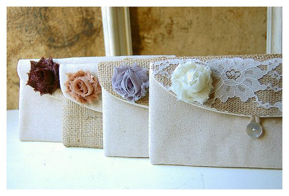 rustic burlap lace clutch wedding Personalize by hoganfe on Etsy