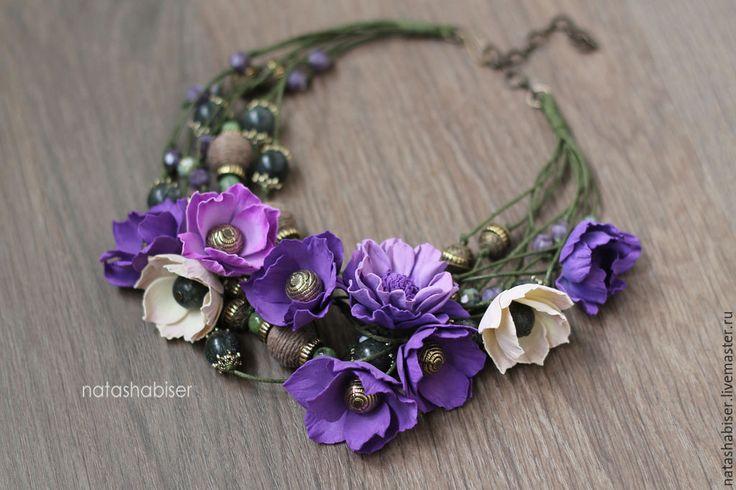 Купить Колье ЛЕТНИЙ СОН с цветами из фоамирана и бусинами - фиолетовый, колье с цветами, украшение с цветами