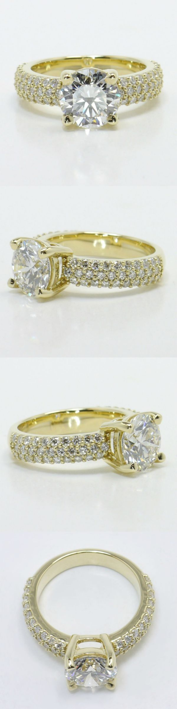 Yellow Gold Pave Diamond Ring by Brilliance.com! (Round 1.84 Ctw. Color: I Clarity: VVS1 Cut: Super Ideal Certification: GIA) Diamond/Gem Cost: $12,962 (Metal: 18k Yellow Gold Side Shape: Round Side Carat: .60 Side Color: G Side Clarity: SI1 Side Cut: Exellent Setting Type: Pave) Setting Cost: $1,450 - Total Cost: $14,612 www.brilliance.com