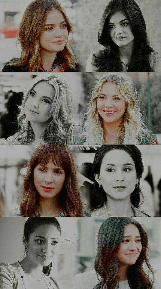 Aria,Hanna,Spencer, and Emily then and now.❤