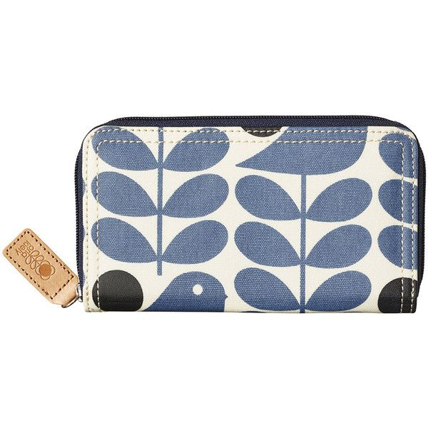 Orla Kiely Early Bird Big Zip Purse - Prussian Blue ($94) ❤ liked on Polyvore featuring bags, wallets, blue, orla kiely bags, leather zipper wallet, zip coin wallet, zip wallet and blue leather wallet