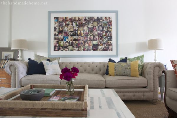 happy accidents: Decor, Chesterfield Couch, Living Rooms, Photo Display, Chesterfield Sofa Linen Love, Chesterfield Sofa Linen Jpg, Linen Chesterfield, Chesterfield Sofa Plus, Photo Collages