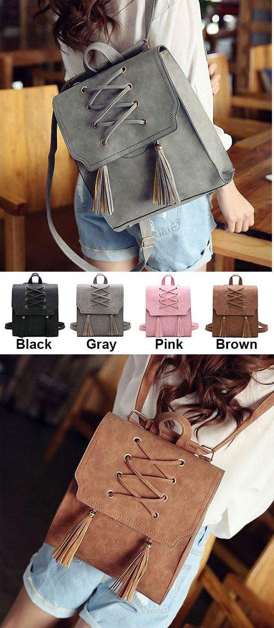 Which color do you like? Retro Girl's Cross Bandage Tassels Flap Square School Bag Weave Leisure Brown Travel Backpack #retro #tassel #square #school #brown #backpack #bag #student #college #school #travel #girl