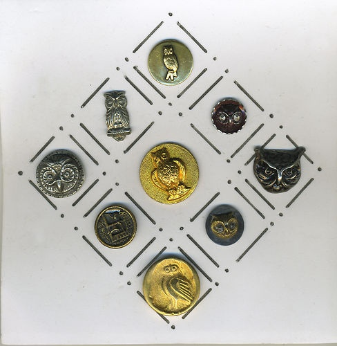 Lot of Vintage Metal Buttons Owls