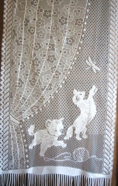 Kitten Lace Curtain Vintage French Kittens With A