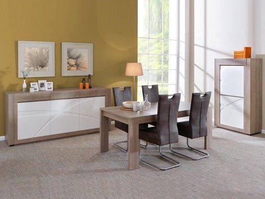 Salle à manger 1 GIONO chêne gris/blanc laqué 1   Table ...