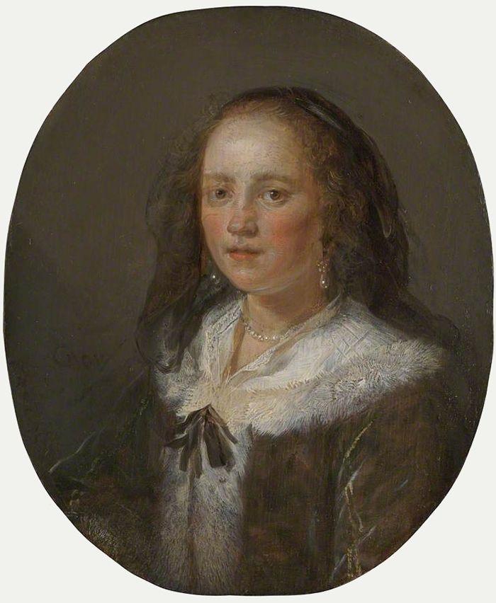 Gerard Dou: vrouw met zwarte sluier. ca. 1655 gezien de stijl en de kledingdracht. National Gallery, London. Dou schilderde ook een aantal kleine, nauwkeurig uitgevoerde en elegante portretten. De vrouw op dit portret is onbekend.