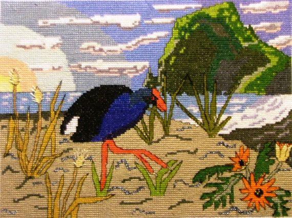 PUKEKO at Piha Beach Cross Stitch Pattern by KraftyKiwis on Etsy