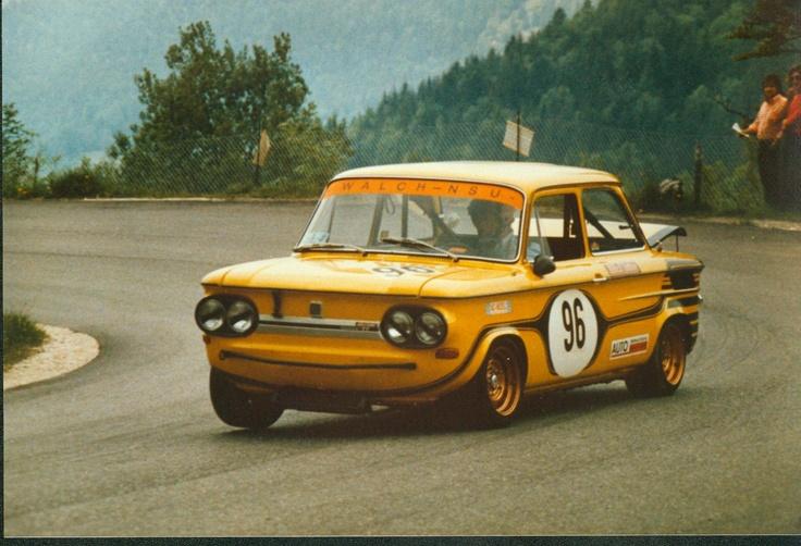 Herbert Stocker mit seinem NSU TT 1973 beim Alpen-Bergpreis Berchtesgaden. Mit der Startnummer 96 startete er in der Tourenwagen-Klasse 14 von 1.150 bis 1.300 ccm.   Foto: Robert Frigo