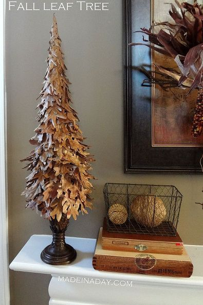 fall leaf tree, crafts, seasonal holiday d cor, thanksgiving decorations, Make a leaf tree from leaves in your yard