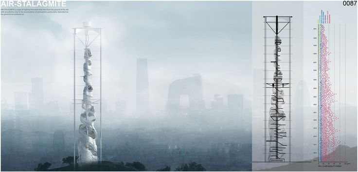 """eVolo 2016 Honorable Mention  Project by:Changsoo Park, Sizhe Chen USA """"Air-Stalagmite: A Skyscraper To Serve As A Beacon And Air Filter For Polluted Cities"""""""