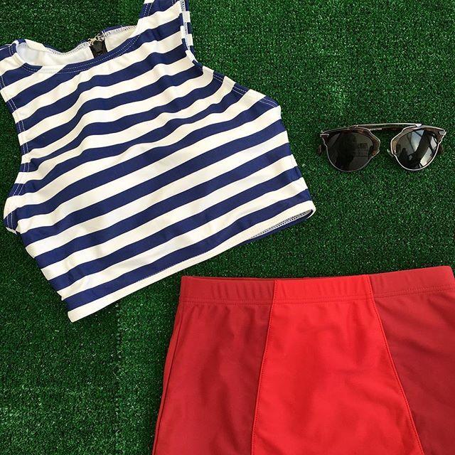 Yes! Stripe Tankini $42.50,  Red/Burgundy $32.50 Find this swim at www.kingdomandstate.com