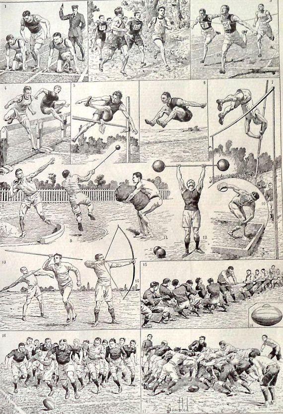 1920s Original Olympic Games Sports Print High Jump Football