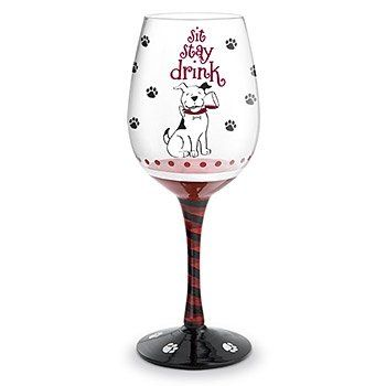 Funny Dog Sit ... Stay ... Drink! Hand Painted Wine Glass