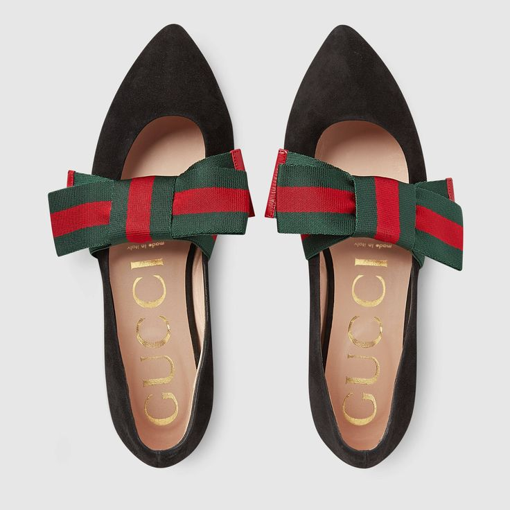 Gucci Suede ballet flat with Web bow Detail 3