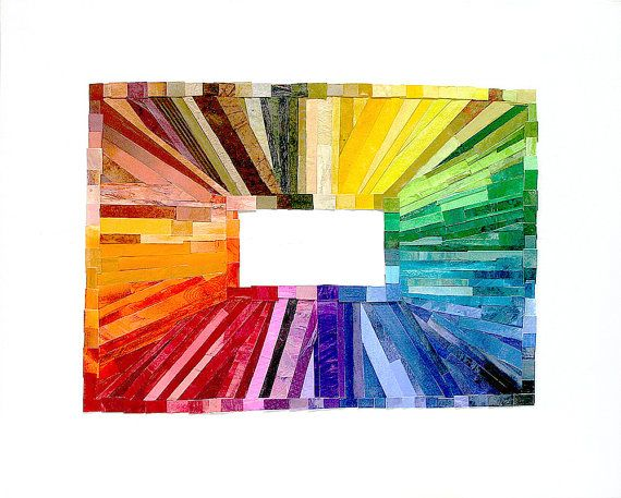Rainbow Paper Collage Wood Block 16x20 Rectangular by lauraprill