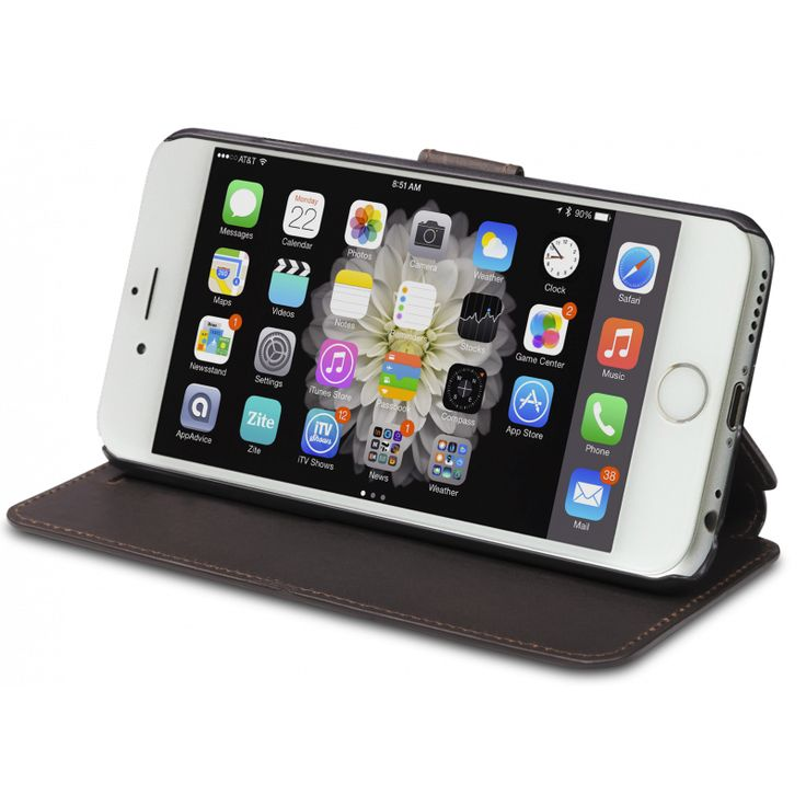 """""""Frederiksberg"""" protects your iPhone 6, while providing you with numerous viewing angles. Your iPhone 6 display can also be flipped over to stand up, making an easy-to-use display for your work on the move."""