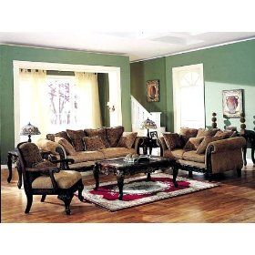 3pcs Bordeaux Floral Chenille Fabric Sofa Loveseat Chair Set Living Room Furniture