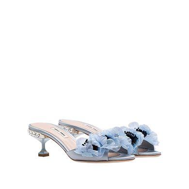 4137690965a1 Satin Sandals with Flower Appliqués