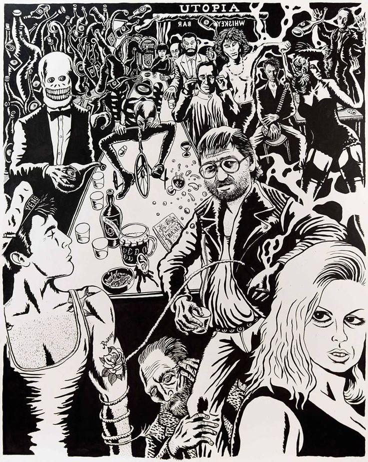Der wüste BAAL der Auferstandene The Rakish BAAL the Resurrected  Neal Fox, Show Me The Way To The Next Whiskey Bar 2015, Tusche auf Papier / Ink on paper,155 x 122 cm
