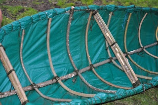 Canoe of Willow and Tarpaulin @ Northern Ireland Bushcraft Association: Beachcombers Course.