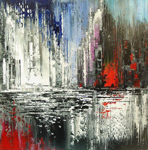 Paisaje abstracto espátula Original pintura decoración de pared hecha a mano del arte - por Tatiana Iliina - hecho por encargo