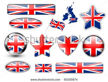 England, United Kingdom flag buttons great collection, high quality vector illustration - stock vector