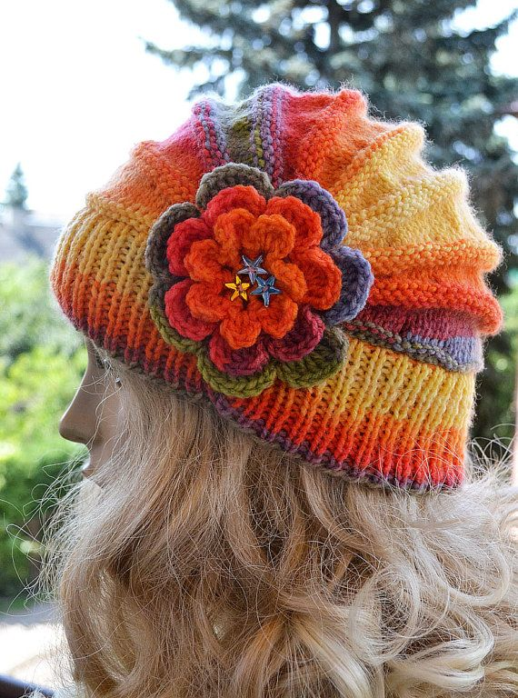 Knitted flower cap / hat lovely warm autumn by DosiakStyle on Etsy