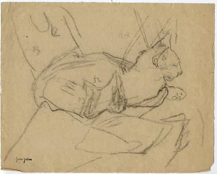 Gwen John Black Cat Sleeping on Chair, face droite